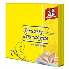 Serwetki dekoracyjne żółte 40x40 20 szt