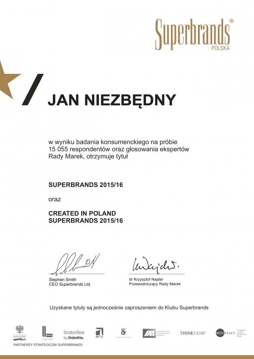 Tytuł Superbrands 2015/16 oraz Created in Poland Superbrands 2015/16